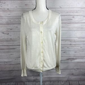 Theory ivory linen blend cardigan